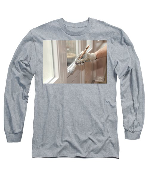 Paintbrush With White Paint In Hand Long Sleeve T-Shirt