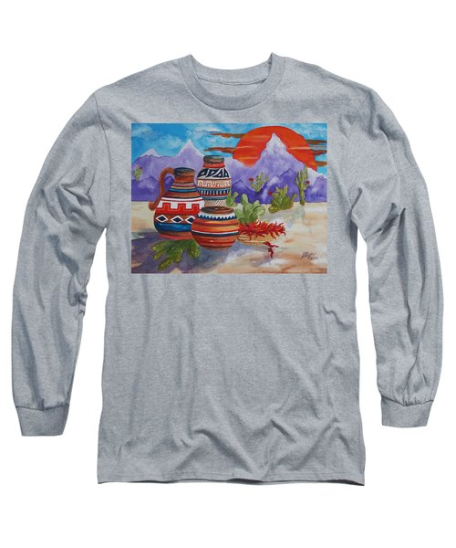 Painted Pots And Chili Peppers Long Sleeve T-Shirt by Ellen Levinson