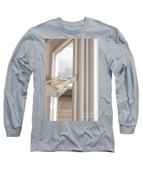 Painting A Window With White Long Sleeve T-Shirt