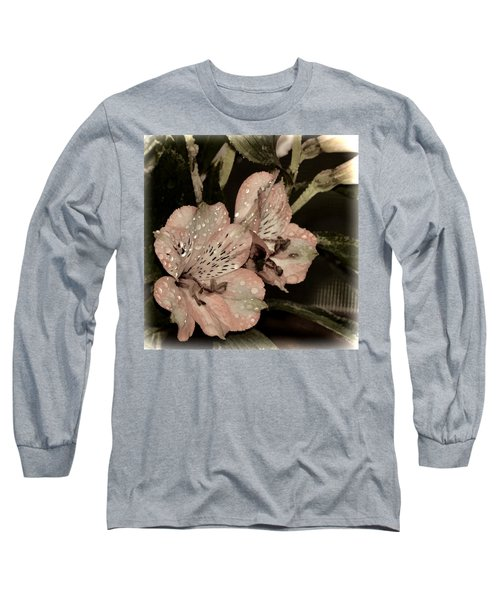 Pale Pink Lilies On Dark Background Long Sleeve T-Shirt