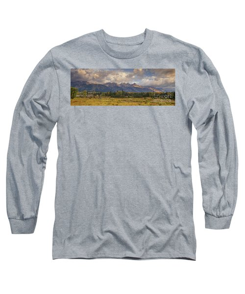 Panaroma Clearing Storm On A Fall Morning In Grand Tetons National Park Long Sleeve T-Shirt