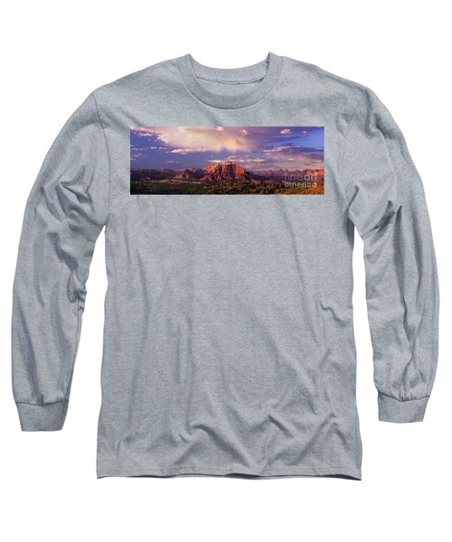 Panorama West Temple At Sunset Zion Natonal Park Long Sleeve T-Shirt by Dave Welling