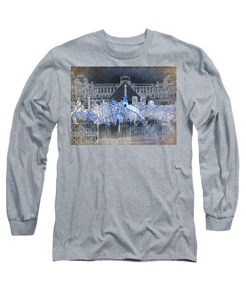 Paris Skyline Vintage Long Sleeve T-Shirt