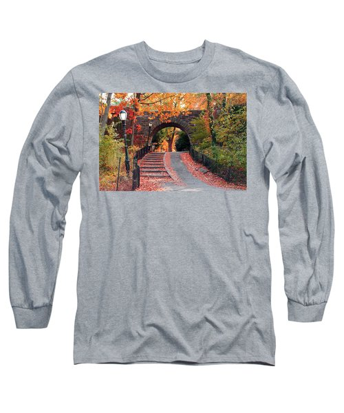 Path Of Leaves Long Sleeve T-Shirt by Catie Canetti