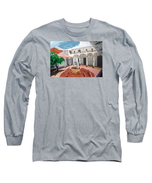 Long Sleeve T-Shirt featuring the painting Patio Colonial by Lazaro Hurtado