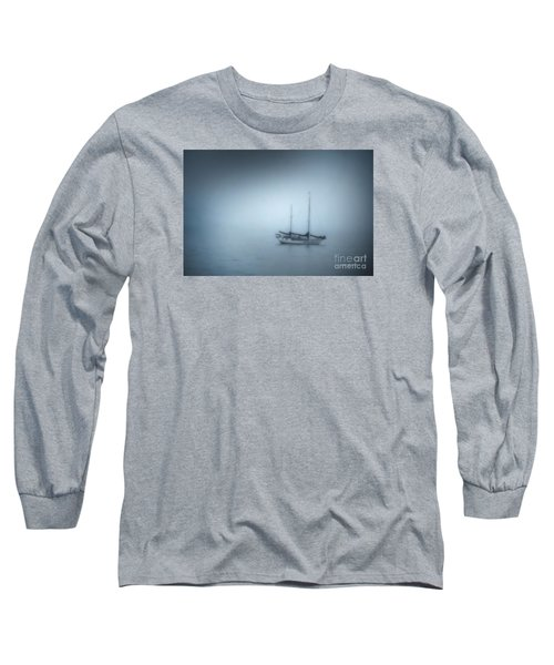 Peaceful Sailboat On A Foggy Morning From The Book My Ocean Long Sleeve T-Shirt