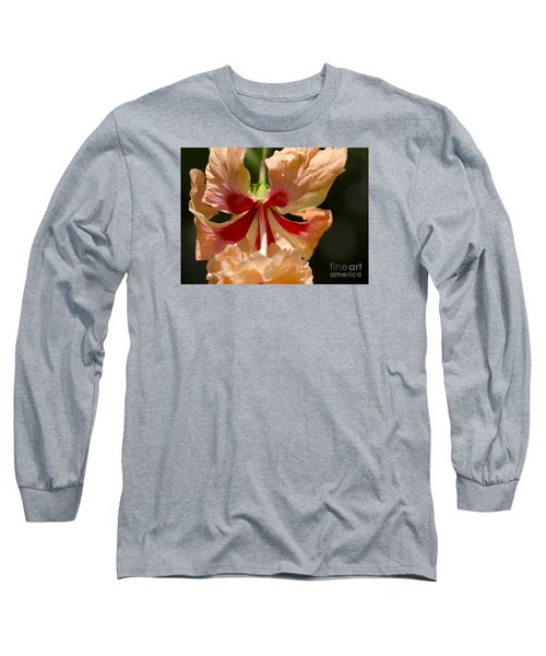 Peach And Red Flower Long Sleeve T-Shirt