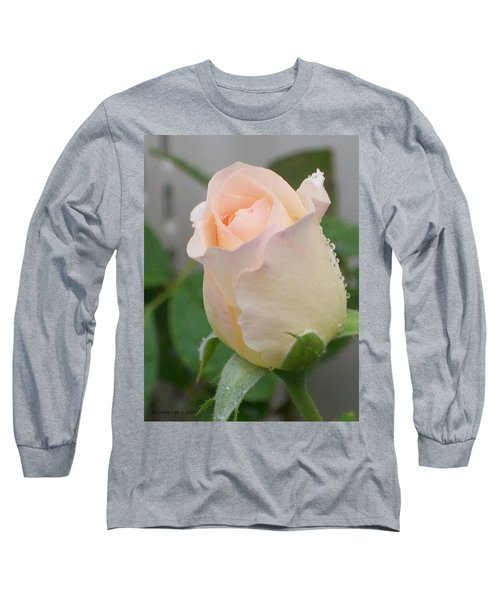 Long Sleeve T-Shirt featuring the photograph Fragile Peach Rose Bud by Belinda Lee