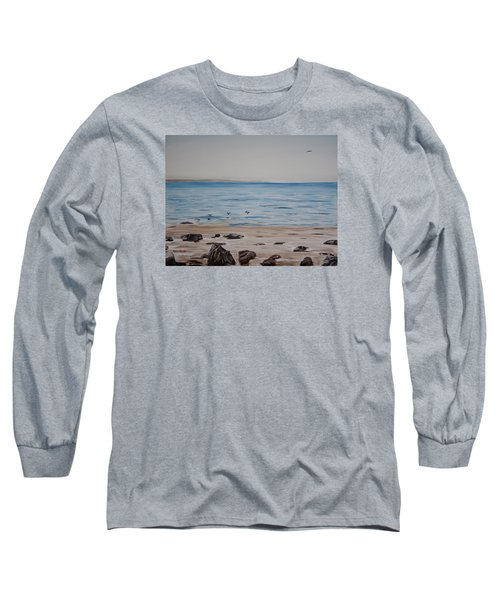Long Sleeve T-Shirt featuring the painting Pelicans At El Capitan by Ian Donley