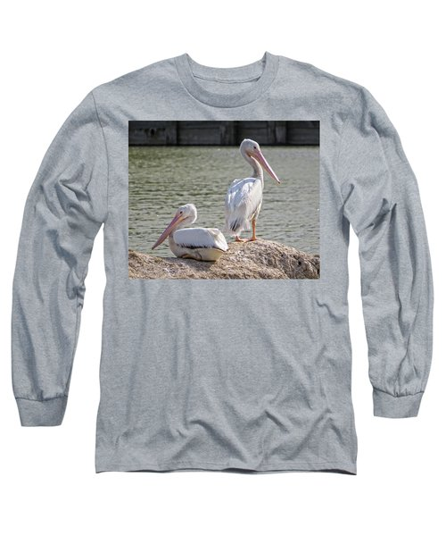 Long Sleeve T-Shirt featuring the photograph Pelicans By The Pair by Ella Kaye Dickey