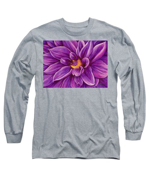 Long Sleeve T-Shirt featuring the drawing Pencil Dahlia by Janice Dunbar
