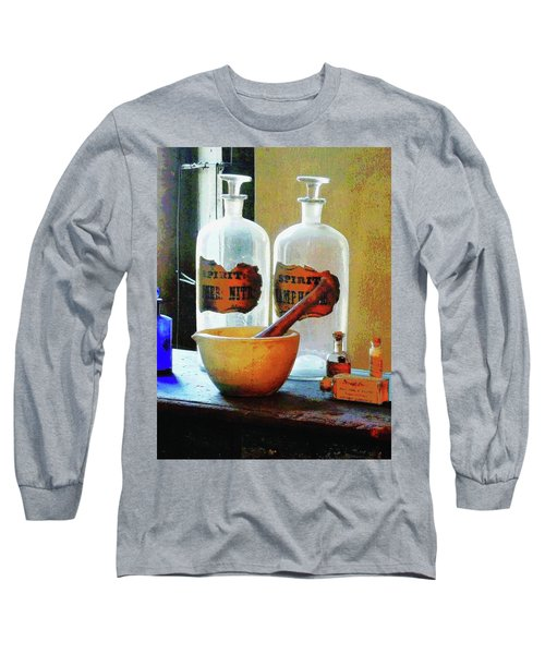Long Sleeve T-Shirt featuring the photograph Pharmacist - Mortar And Pestle With Bottles by Susan Savad