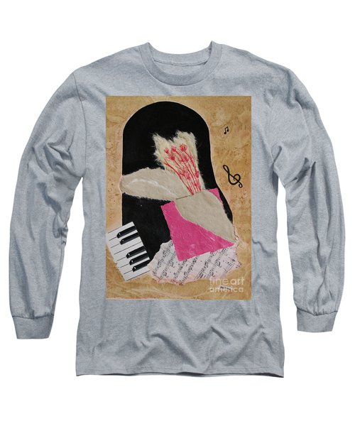 Long Sleeve T-Shirt featuring the painting Piano Still Life by Mini Arora
