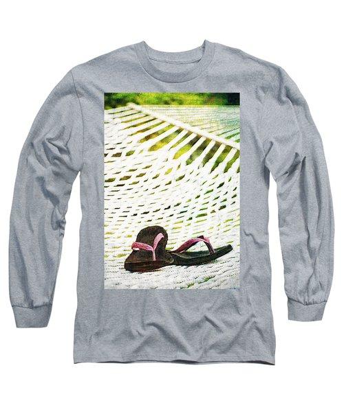 Pink Flip Flops On Backyard Rope Hammock Vintage Scratched Style Long Sleeve T-Shirt