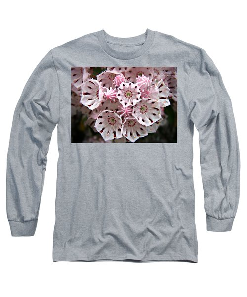 Pink Flowered Mountain Laurel Long Sleeve T-Shirt