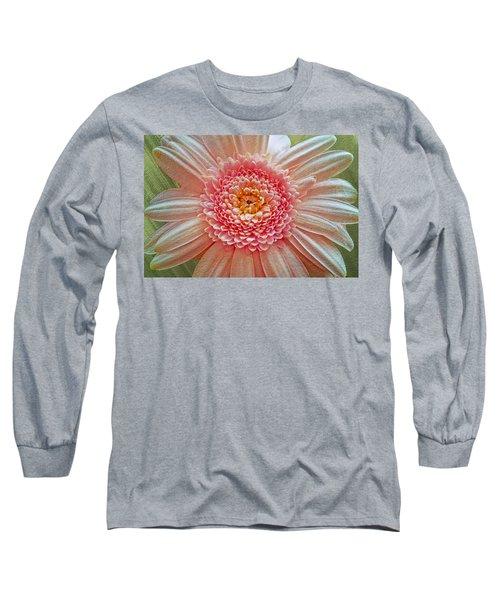 Pink Gerbera Textured Long Sleeve T-Shirt