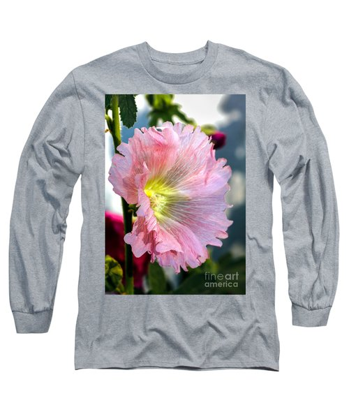 Pink Hollyhock Long Sleeve T-Shirt