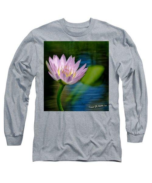 Purple Petals Lotus Flower Impressionism Long Sleeve T-Shirt by Carol F Austin