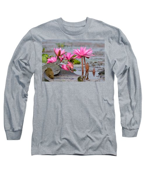 Pink Lotuses Long Sleeve T-Shirt by Fotosas Photography