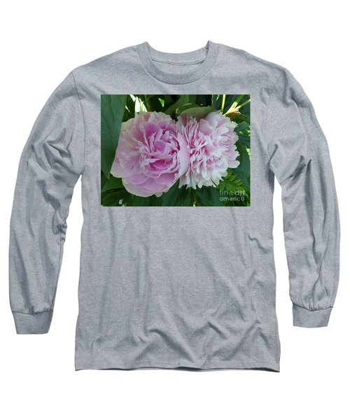 Pink Peonies 2 Long Sleeve T-Shirt by HEVi FineArt