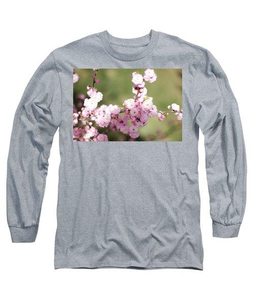 Pink Plum Branch On Green 2 Long Sleeve T-Shirt