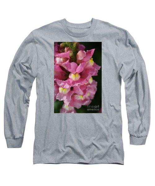Pink Snapdragon Flowers Long Sleeve T-Shirt by Joy Watson