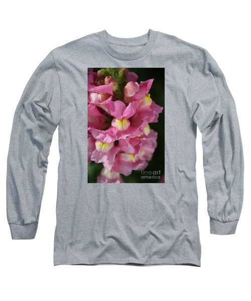 Pink Snapdragon Flowers Long Sleeve T-Shirt