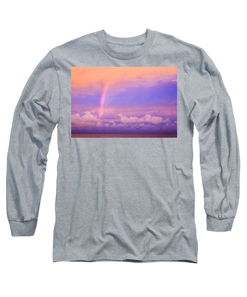 Long Sleeve T-Shirt featuring the photograph Pink Sunset Rainbow by Peta Thames