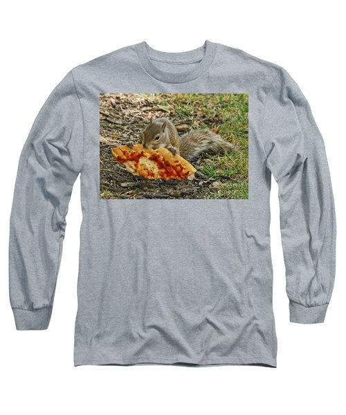 Pizza For  Lunch Long Sleeve T-Shirt by Mary Carol Story