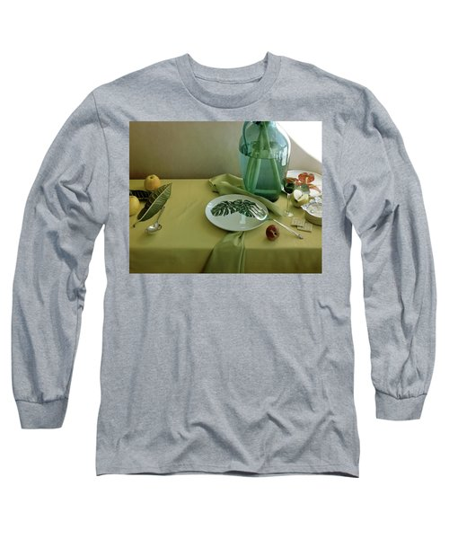 Plates, Apples And A Vase On A Green Tablecloth Long Sleeve T-Shirt