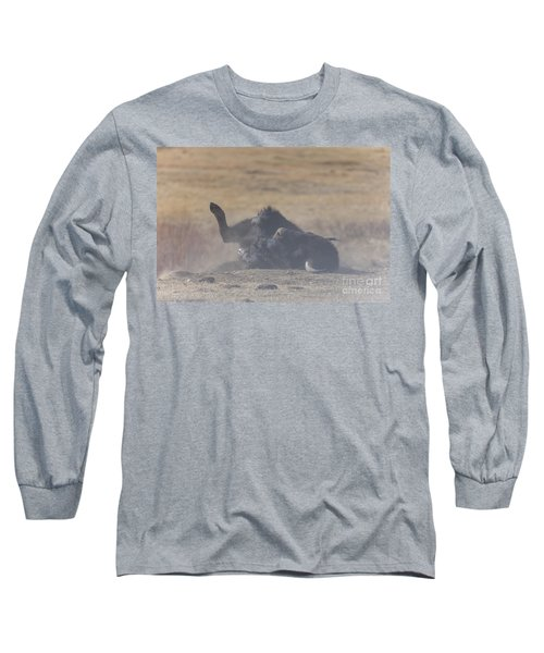 American Bison Playing In The Dirt At Custer State Park South Dakota Long Sleeve T-Shirt