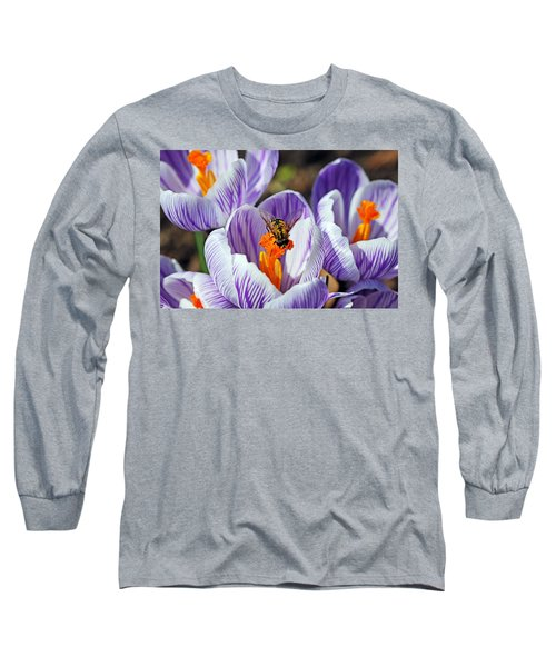 Long Sleeve T-Shirt featuring the photograph Popping Spring Crocus by Debbie Oppermann
