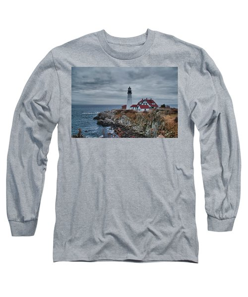Long Sleeve T-Shirt featuring the photograph Portland Headlight 14440 by Guy Whiteley