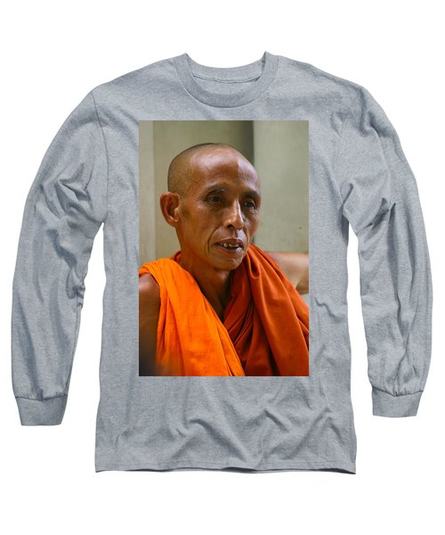Portrait Of A Buddhist Monk Yangon Myanmar Long Sleeve T-Shirt
