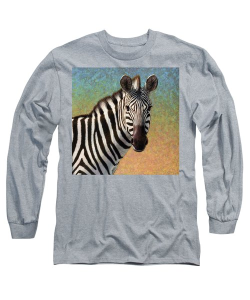 Long Sleeve T-Shirt featuring the painting Portrait Of A Zebra - Square by James W Johnson