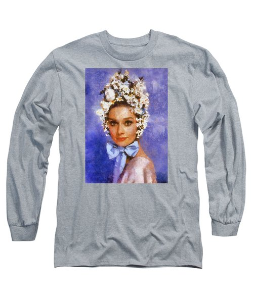 Portrait Of Audrey Hepburn Long Sleeve T-Shirt by Charmaine Zoe