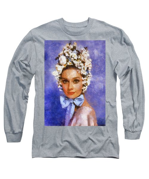 Portrait Of Audrey Hepburn Long Sleeve T-Shirt