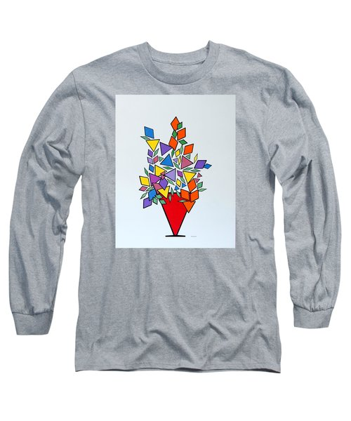 Long Sleeve T-Shirt featuring the painting Potted Blooms Triangle by Thomas Gronowski