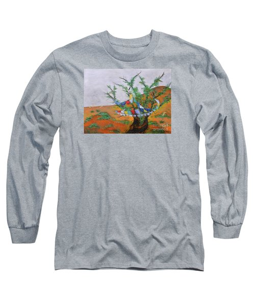 Long Sleeve T-Shirt featuring the painting Prayer Flags by Deborha Kerr