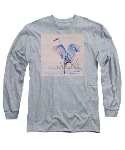 Long Sleeve T-Shirt featuring the painting Pretty Crane by Phyllis Kaltenbach