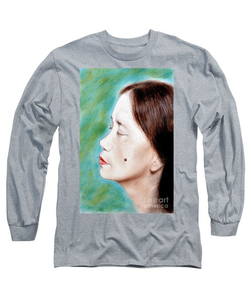 Long Sleeve T-Shirt featuring the drawing Profile Of A Filipina Beauty With A Mole On Her Cheek  by Jim Fitzpatrick