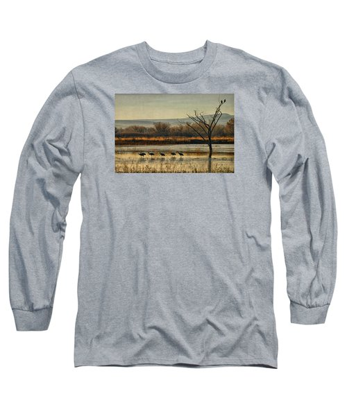 Promenade Of The Cranes Long Sleeve T-Shirt by Priscilla Burgers
