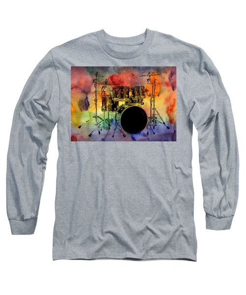 Psychedelic Drum Set Long Sleeve T-Shirt