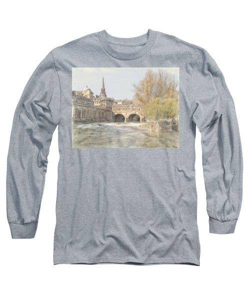 Pulteney Bridge Bath Long Sleeve T-Shirt by Ron Harpham