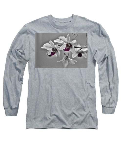 Purple And Pale Green Orchids - Black And White Long Sleeve T-Shirt