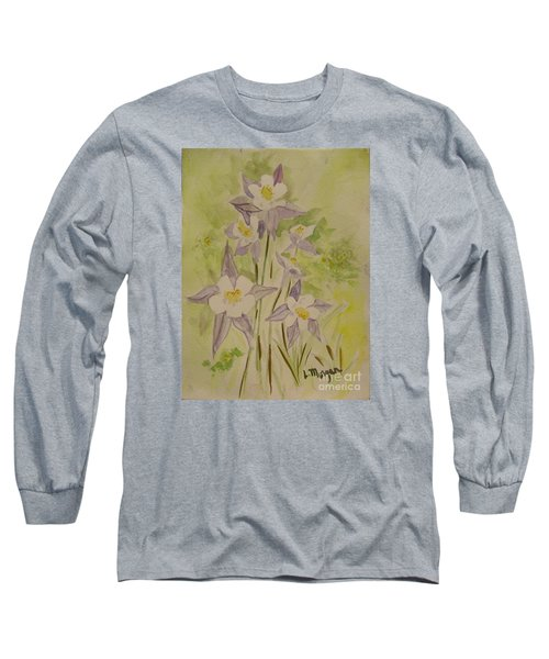 Purple And White Columbines Long Sleeve T-Shirt