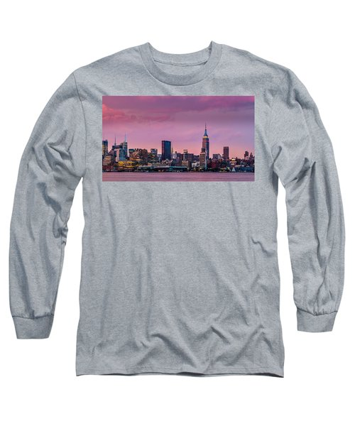 Long Sleeve T-Shirt featuring the photograph Purple City by Mihai Andritoiu