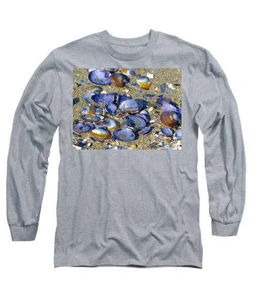 Purple Clam Shells On A Beach Long Sleeve T-Shirt