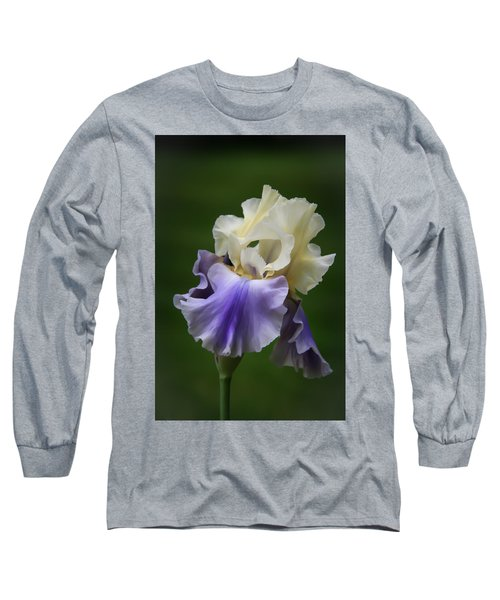 Purple Cream Bearded Iris Long Sleeve T-Shirt by Patti Deters