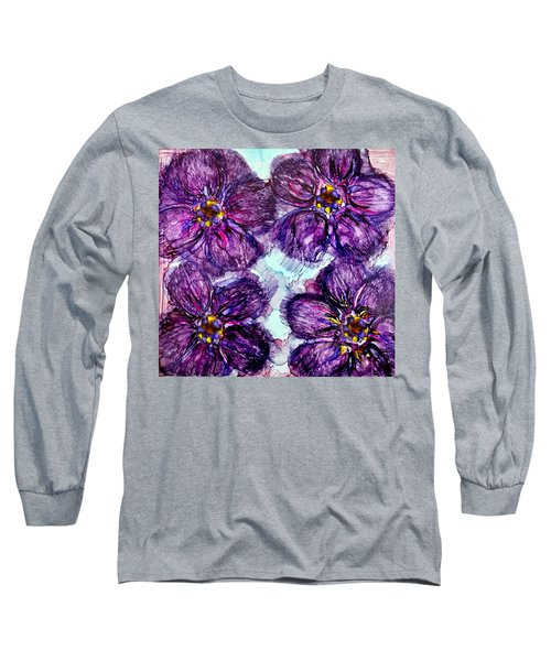 Purple Daisies Alcohol Inks Long Sleeve T-Shirt
